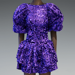 Large violet glitter puff sleeve dress