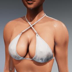 Bad Bunny wet look bikini top cleavage (white) for Kismet Body  by Apocalypse Bunnies