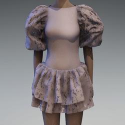 Grey lace large puff sleeve dress