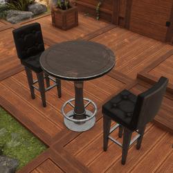 Bar Stool And Table Set   DARK WOOD