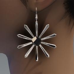 Silver sunburst daisy earrings