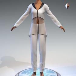 Sheer Tunic Suit - White Wool