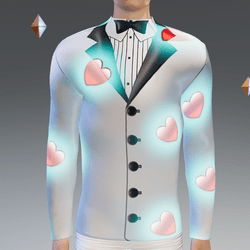 Valentine's Simulated White Tux Glowing-Animated Hearts - Male