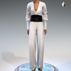 Wrapped Pantsuit - Linen and Leather - White