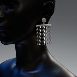 Vintage rhombus rain earrings - silver