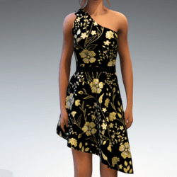 Shoulder Strap Dress in Painted Garden - Gold