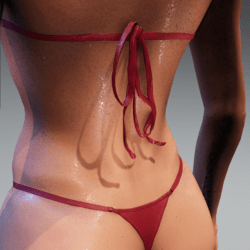 Bad Bunny bikini ties for loose top Red