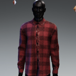 Grunge Plaid Long Buttoned Shirt Red