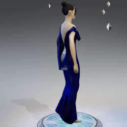 Elegant Extremely Low Back Dress NAVY BLUE