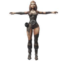 Barbarian Comic Girl NPC - Animated