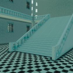 Pastel blue hall