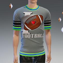 I Love Football Green Shirt - Male