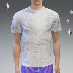 Blue-Gray Pocket T-Shirt - Male