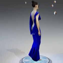 Elegant Extremely Low Back Dress LIGHT NAVY BLUE
