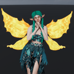 Animated Yellow Fairy Wings [Necklace Slot]