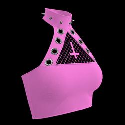 Inverted Cross Halter Top (Pink)