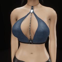 Chain top halter (denim)