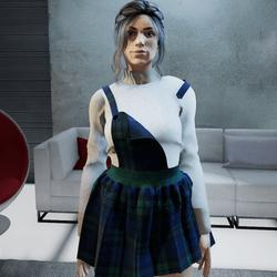 Mini dress in scottish  wool fabric BLUE and GREEN