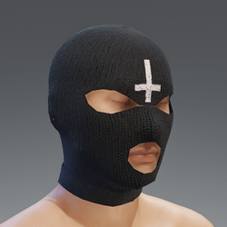 ski mask - black cross - male