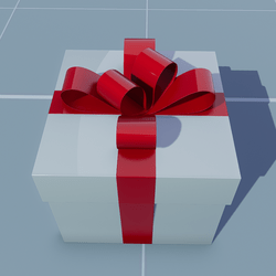 Gift Square with Red Bow
