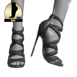 Strappy stiletto sandals for h2ai high - black
