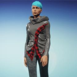 cowl neck flannel trim sweater