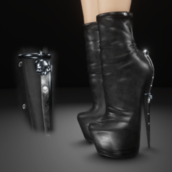 Black leather skull charm boots