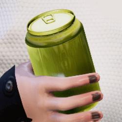 Bottle yellow in arm