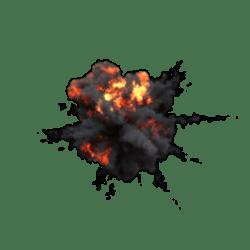 Explosion with black smoke