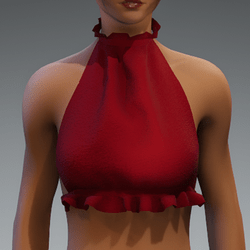 red ruffle halter top