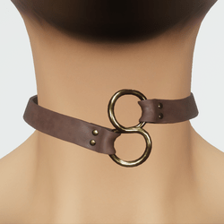 TKA Choker in brown leather and gold
