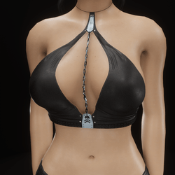Chain top halter (black leather)