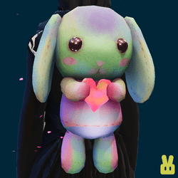Plush bunny - hand - rainbow