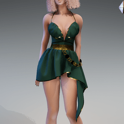 Rome Dress in Green and Gold
