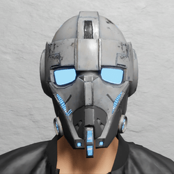 TKA Helmet Scifi Blue Emissive & UV Animation ( Men )