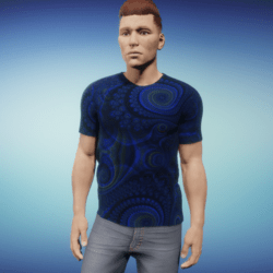 Men's Groovy T Shirt - Fractal Blue
