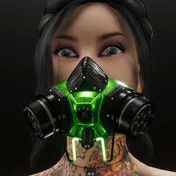 Green animated / glowing gas mask