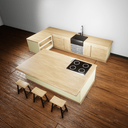 Kitchen soft yellow and wood