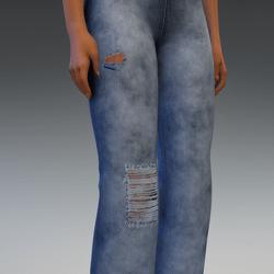 Denim Pants with Cuts