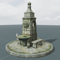 Old Stone Fountain with Face   SET