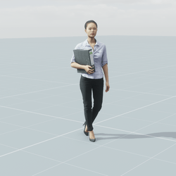 Asian woman with folder 3D scan static model
