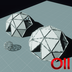 2 geodesic domes and cage