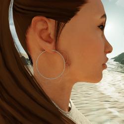 Bohemia Flower Hoop Earrings (Silver)
