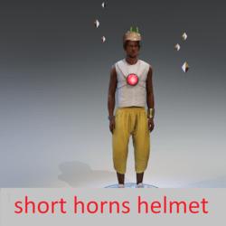 Short horns with helmet