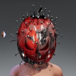 Steel Painted Pumpkin Mask