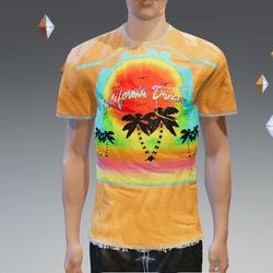 Orange California Dream Pocket T-Shirt - Male