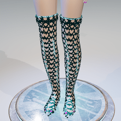 Valentine's Blue Hearts High Boots - Female