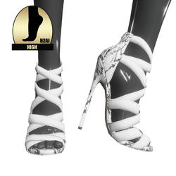 Strappy stiletto sandals for h2ai high - white snake