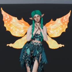 Animated Orange Fairy Wings [Necklace Slot]