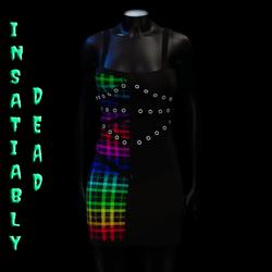 Pentagram Strapped Dress Tartan [Rainbow]